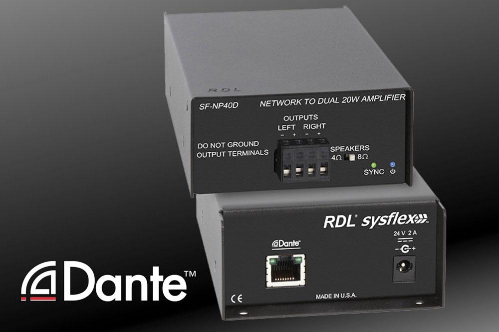 RDL SF-NP40D stereo versterker met Dante netwerk aansluiting