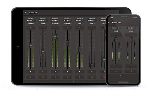 AUDAC M2 mixen vanuit de AUDAC Touch app